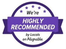 """Badge that says """"We're HIGHLY RECOMMENDED by Locals on Alignable"""""""